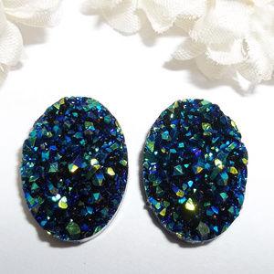Blue AB Druzy Style Earrings Oval Unisex Set 3842